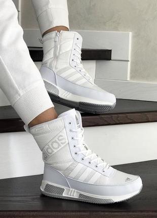 Шикарные женские зимние сапоги дутики adidas белые