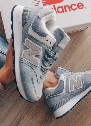 Шикарные женские зимние кроссовки с мехом new balance 574 blue