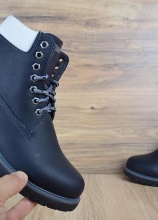 Шикарные женские зимние ботинки  timberland с мехом  темно-синие