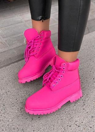 Шикарные женские  зимние  ботинки с мехом  timbarland pink