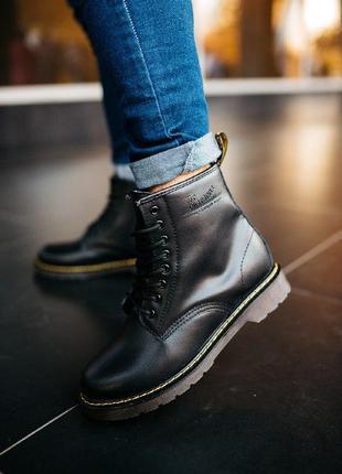 """Шикарные женские зимние ботинки dr.martens classic """"blak"""""""