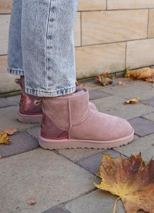 Шикарные женские зимние сапоги угги  ugg mini pink metallic с ...