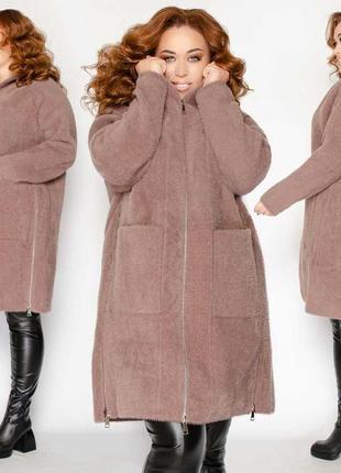 Теплое шерстяное пальто большого размера