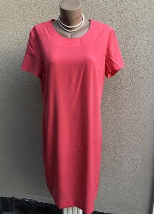 Красное,розовое платье шелк,прямой крой,эксклюзив коллекция