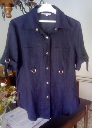 Рубашка из лёна с короткими рукавами