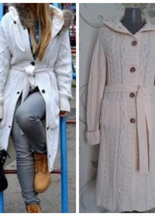 Кардиган длинный трикотажный вязаный удлиненный пальто вязаное...