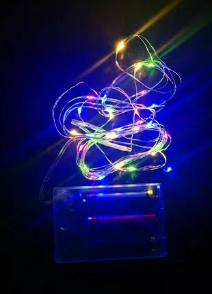 Тонкая гирлянда роса светодиодная нить на батарейках 3м