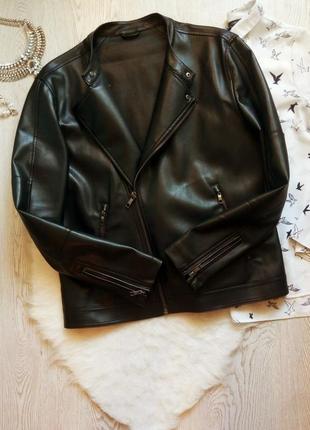 Черная мужская кожанка куртка косуха с молниями zara батал бол...
