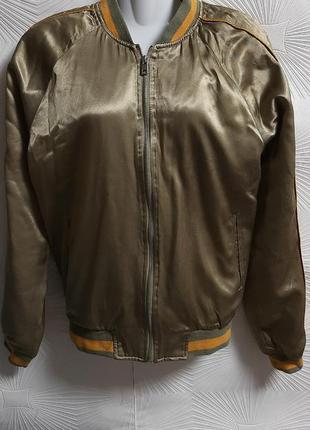🦋шикарная атласная ветровка/куртка с вышивкой на спине