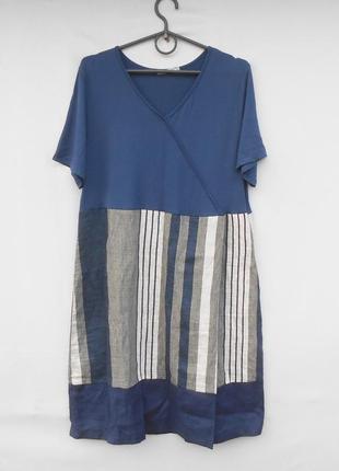 Летнее льняное платье с коротким рукавом в полоску