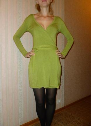 Кардиган платье на запах теплый трикотаж яркое салатовое qed l...
