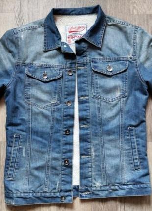 Винтажная утепленная джинс. куртка Brad Burns размер L.