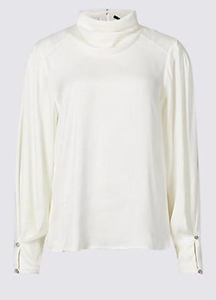 Сатиновая блузка с воротником длинный рукав marks and spencer