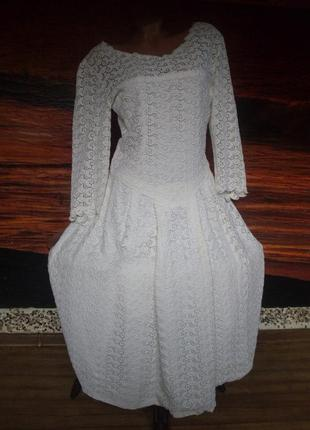 Винтажное свадебное платье для фотосессий 100% льняное кружево