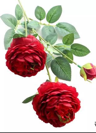 Роза искусственный цветок 1 ветка Красная