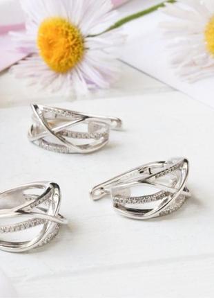 Комплект серебряный кольцо и серьги лк0148