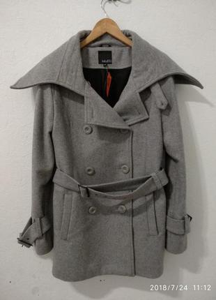 Шерстяное пальто прямого кроя под пояс l