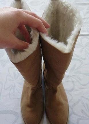 Высокие коричневые бежевые зимние сапоги с мехом h&m