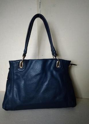 Сумка сумочка темно синяя 1 отделение на молнии кожзам 35х28х1...