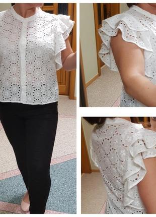 Белая натуральная блуза zara