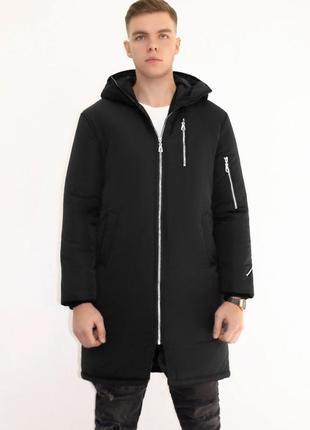 Мужская зимняя куртка удлиненная черная 🤗  с капюшоном и замками