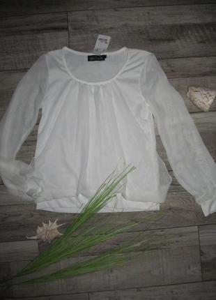 Стильная белая блуза р. 44-46