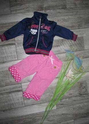 Хлопковые штанишки с трикотажной подкладкой на 1-1,5 года