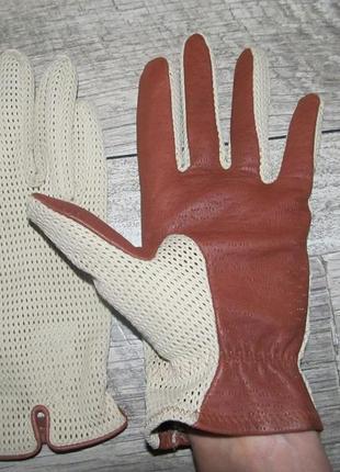 Кожаные перчатки с вязаной сеткой  р 8