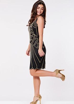 Стильное платье сетка с вышивкой gatsbylady london р.  uk 18 -...