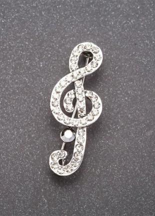 Брошь скрипичный ключ в стразах