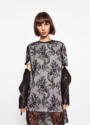 Оригинальное кружевное платье-футболка zara  р. mex 30