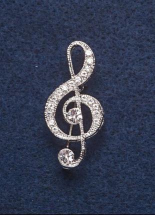 Брошь скрипичный ключ