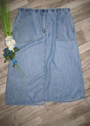 Летняя джинсовая юбка а-образного кроя m&s р.18