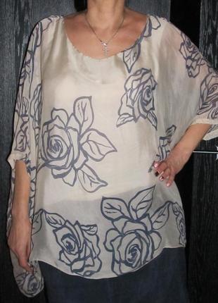 70/30 вискоза/шелк натуральная ткань блуза италия р 14