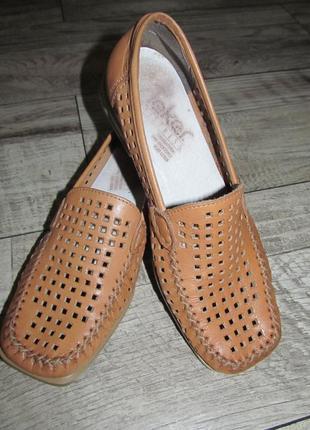 Кожаные летние туфли rieker  р. 37 стелька 24,5см
