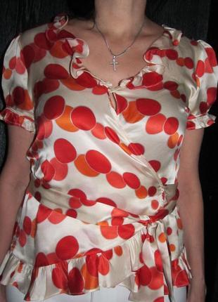 Шелковая блуза  zara р. l