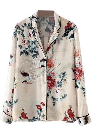 Блуза в пижамном стиле  zara р. м - 28