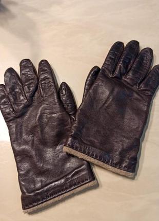Кожаные перчатки на кашемированной подкладке