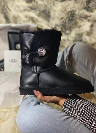 Ugg bailey button mini black leather 🤗 натуральные женские зим...