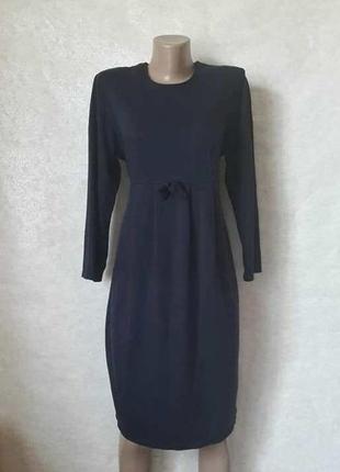Фирменное esprit синее платье-миди на запах с поясом-резинка, ...