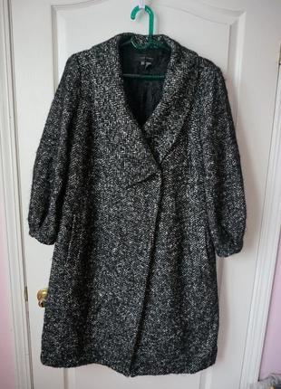 Теплое демисезонное мохеровое шерстяное пальто