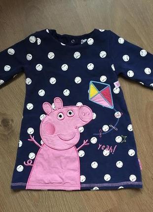 Тепленькое платье-туника peppa pig на 12-18 месяцев