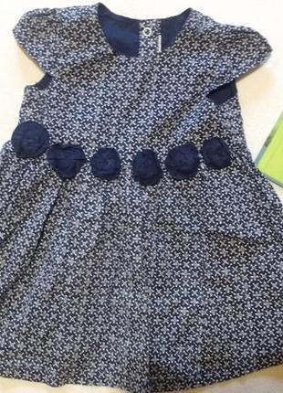 """Синее платье с коротким рукавом с цветами """"h&m"""", 4-6 месяцев, ..."""