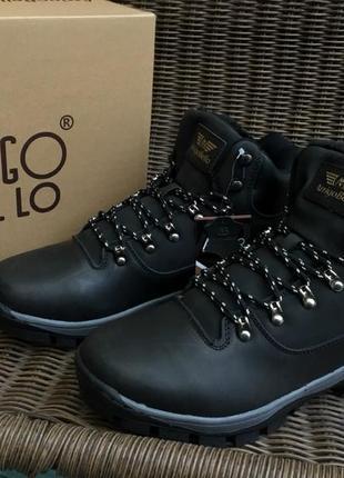 Натуральные кожаные зимние ботинки черные arrigo bello