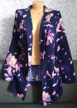 Фиолетовый кардиган в принт цветы