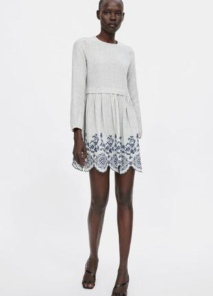 Короткое платье с вышивкой zara