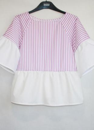 Хлопковая рубашка с воланами