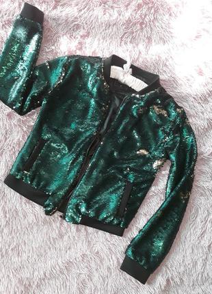 Куртка из паеток бутылочного цвета