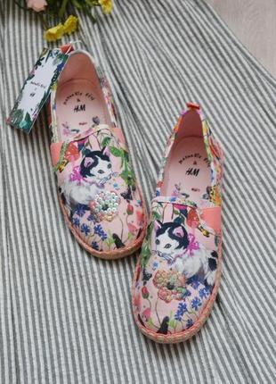 Красивенные эспадрильи с котиком в цветы размеры 37 38