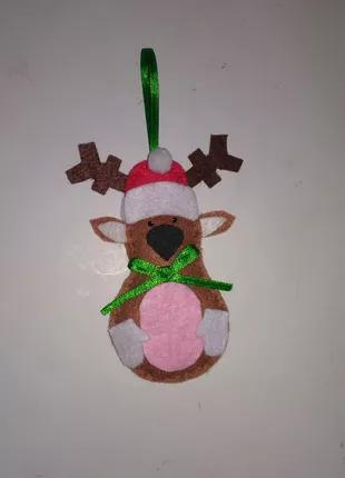 Елочная, новогодняя игрушка, украшение из фетра